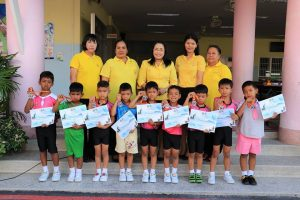 """รางวัลรองชนะเลิศอันดับ 2 การแข่งขันเดินตัวหนอน งานมหกรรมการจัดการศึกษาท้องถิ่น ครั้งที่ 14 """"สมิหลาวิชาการ"""" ประจำปี 2561"""